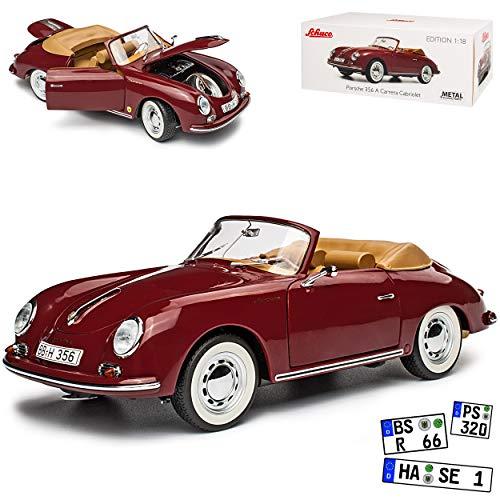 Porsche 356A Cabrio Dunkel Rot 1955-1959 1/18 Schuco Modell Auto