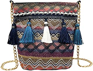 TOOGOO Vintage Women Weaving Tassel Shoulder Bag Messenger Bag Crossbody Bags Girls Cute Handle Straw Bags(Yellow)