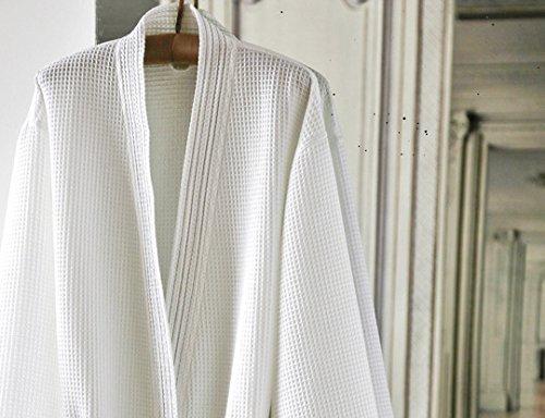 Blanc des Vosges Peignoir Manoir Blanc Taille L - 100% coton Nid d'abeille