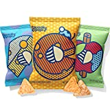 Squeaky Pops Chickpea Chips, Healthy Snack Variety Pack, Gluten-Free, Nut Free, Non-GMO, Allergen Friendly - White Cheddar, Cheddar, and Apple Cinnamon (12 bags, 0.8oz each)