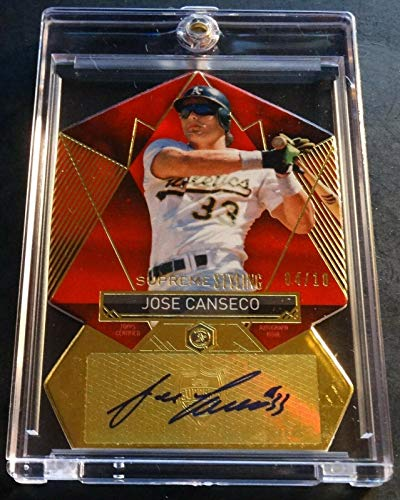 2014 JOSE CANSECO TOPPS SUPREME DIE CUT RED AUTO 04/10 - JC Oakland A's (523)