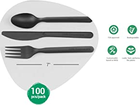 "Ecomaniac: Eco friendly cutlery Set |Compostable cutlery Set| Disposable cutlery Set | Biodegradable Cutlery Set | 7"" Inch Spoons, Forks, Knife and Napkin [100 Each] 