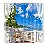 LB Tropischer Strand,Meerblick,Palmen,Blauer Himmel,weiße Wolken_Polyester Stoff Duschvorhang mit Haken Badzubehör Dekoration,180 x 180 cm
