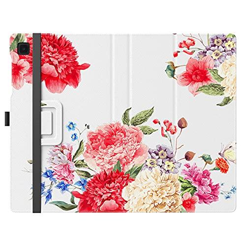 MoKo Funda Compatible con Samsung Galaxy Tab A7 Lite 8.7-Inch 2021 Tableta, Delgado Estuche Protector Función de Soporte Plegable Smart Cover Stand Case con Banda Elástica, Flores Flor