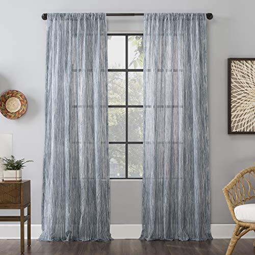"Archaeo Bamboo Stripe Cotton Linen Sheer Curtain, 50"" x 84"", Blue,56794"