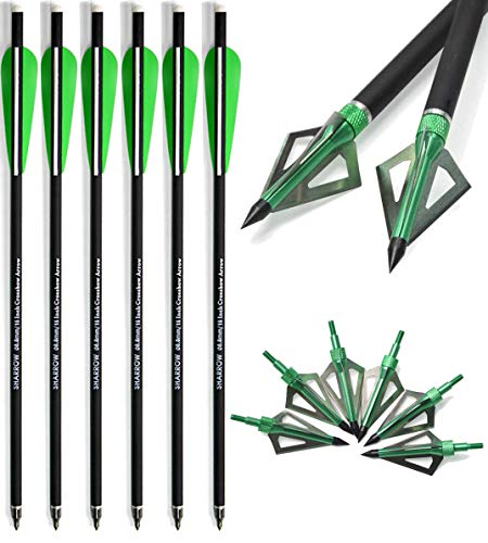 AMEYXGS 6/12pcs Archery Carbon Crossbow Bolt 16/17 Inch Hunting Carbon Arrow with 3 Fixed Blade Arrowhead Can Replaced Arrowhead (16 '', 6 pcs)