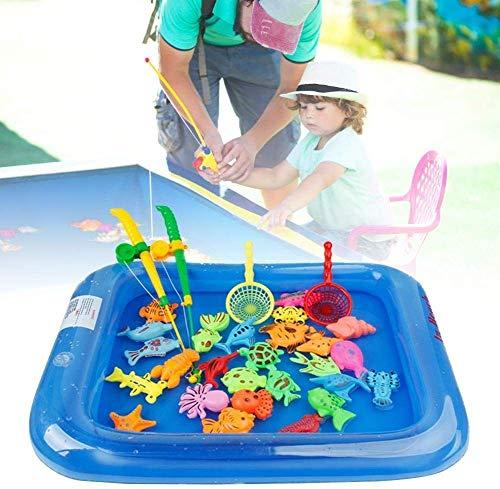 BOC Los hijos de Pesca Juguetes 26pcs / Set magnético Pesca juego de los juguetes para Niños para Bath Pool Party Time con el poste de Rod neto, de plástico que flota Fish - Niño docente de la enseña