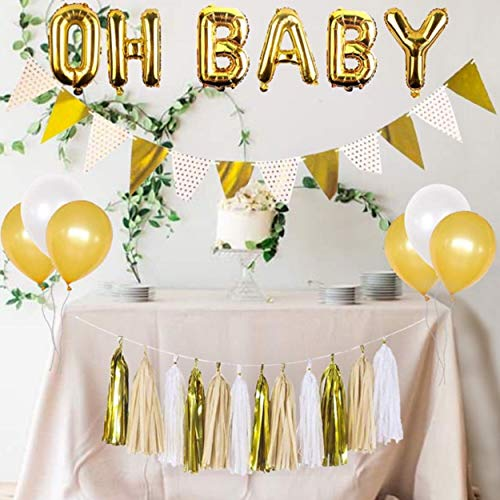 Baby Shower Decorations Gender Neutral, Oh Baby Balloon, Gold and White Balloons, White and Gold Banner, Gold and White Tassel Set, Gold and White Baby shower, Rustic Baby Shower Decorations