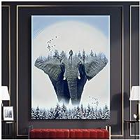 アートパネル ZXYFBH 大きな象の家の装飾の絵画リビングルームの動物の青い空の壁のアート画像モジュラー15.7x23.6in(40x60cm)x1pcsフレームなし