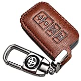 MMMM car Key fob case Suit for Toyota 4 Buttons Genuine Leatherh Holder Protector Key Fob Cover Smart Car Remote Holder for Toyota Camry Highlander RAV4 Avalon,Keychain
