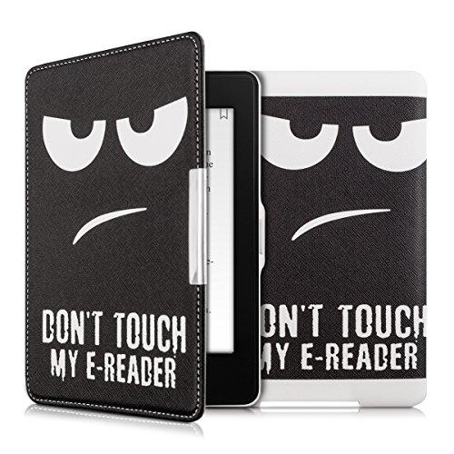 kwmobile Hülle kompatibel mit Amazon Kindle Paperwhite - Kunstleder eReader Schutzhülle (für Modelle bis 2017) - Don't Touch My E-Reader Weiß Schwarz