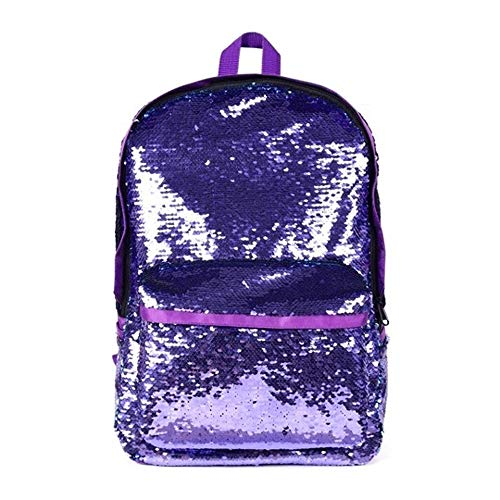 DIY Lentejuelas Escuela Mochila Moda Oxford Tela Mochila Casual Bolsa Blingstars (Color : Purple)