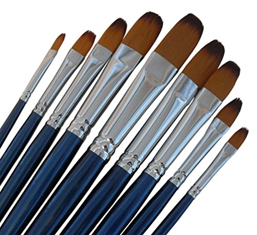 ARTIST PAINT BRUSHES - Fr - Top Quality Black Tip, Golden Nylon, Long Handle, Filbert Paint Brush Set - Ideal for Acrylic and Oil Painting, and Equally Useful for Watercolor and Gouache Color Painting