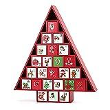 NC Calendario dell'Avvento a forma di albero in legno con cassetti riempibili, decorare, conto alla rovescia, calendario natalizio con 24 cassetti, per bambini