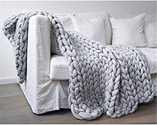 Nicole Knupfer Decke Gestrickte Werfen Handgefertigt Grobe Strickdecke Wolle Garn Sofa Decke DIY Zuhause Geschenk (Hellgrau,120×180cm)