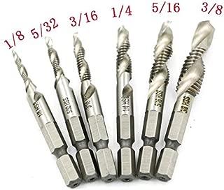 Yakamoz 6PCS Drill Tap Combination Bit Set HSS Deburr Countersink Bit 1/4 Hex Shank Tool Kit   Imperial