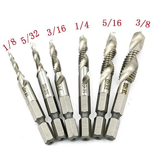 Yakamoz 6PCS Drill Tap Combination Bit Set HSS Deburr Countersink Bit 1/4 Hex Shank Tool Kit | Imperial
