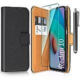 ivencase Funda Compatible con Xiaomi Redmi 10 y Protector de Pantalla y Pen, Libro Caso Cubierta la Tapa magnética Protector de Billetera Cuero de PU Carcasa - Negro