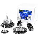 S&R Drahtbürste Set 5-teilig für Bohrmaschine, gewellter Stahldraht - Rundschaft 6mm - Abtragen und Polieren; Im Set: Scheiben-, Topf-, Pinsel- und Zylinderstahlbürste