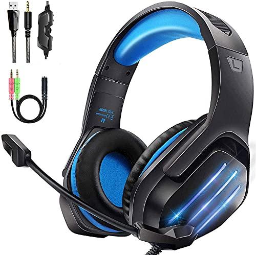 Gootoop Auriculares Gaming, Cascos Gaming PS4, 3D Sonido con Micrófono para PS4 PC Xbox One, Cascos Gaming con Luz LED y Control Volumen, Diadema Acolchada y Ajustable, Micrófono Flexible