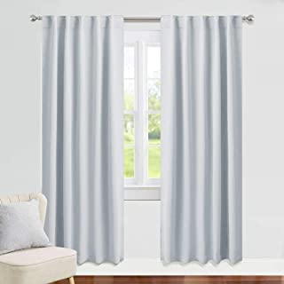 PONY DANCE White Curtain Panels - 42 Wide by 84 Long, Greyish White Room Darkening Light Block Window Curtains for Kitchen/Bedroom with Back Tab Slot Top Home Decor Draperies, 2 PCs