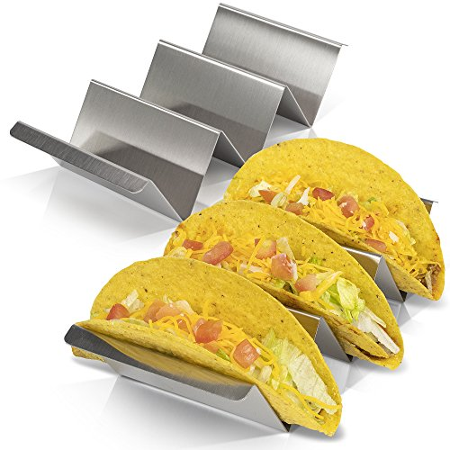 Taco Holder Set of 2 - Stainless Steel Taco Stand - Dishwasher & Oven Save - Easy To Fill Taco Rack And Perfect To Keep Your Delicious Tacos Upright
