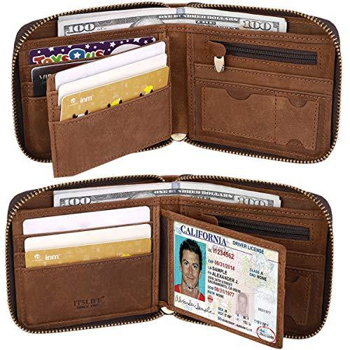 Itslife Men's RFID BLOCKING Brown Bifold Vintage Hand Made Leather/Metal Chain Wallet