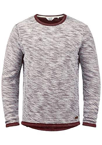 !Solid Flocks Herren Sweatshirt Pullover Flocksweat Pulli Mit Rundhalsausschnitt Aus 100% Baumwolle, Größe:M, Farbe:Wine Red (0985)