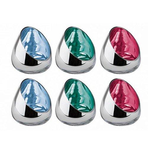 Fink Colorful Windlicht, 6er Set, 3farb. Sortiert, Glas, höhe je: 13cm, 12 x 12 x 13 cm, 6-Einheiten