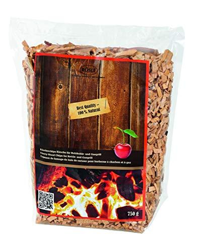 RÖSLE Räucherchips Kirsche, 750 g, für Räucherbox auf Smoker, Holzkohle- und Gasgrills, rauchaktiv, naturbelassenes Holz