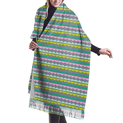Ladies shawl scarf Popcorn Strings (Silver Christmas Geometric Abstract Holiday Garland Ornament Stripes Shawl Scarf Cape Large Soft Cozy Cashmere Scarf Wrap Womans Warm Shawl