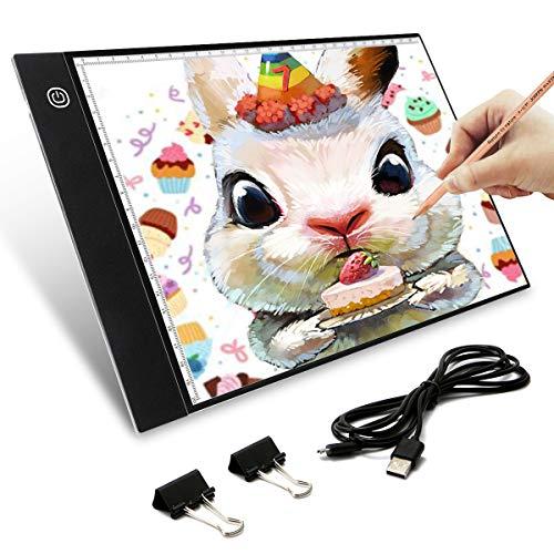 Elfeland LED Licht Pad A4 Leuchttisch Leuchtplatte Tragbare Light Pad Helligkeit dimmbar mit USB Kabel Malen Pad Leuchtkasten Ideal für Malen Skizzierung Animation Zeichnung