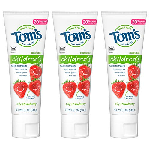 Tom's of Maine Natural Children's Fluoride Toothpaste, Silly Strawberry, 5.1 oz. 3-Pack