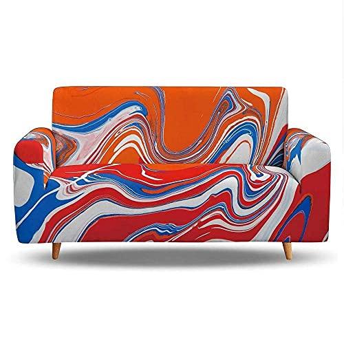 WLVG Fundas de sofá para sofá de 1 2 3 4 plazas, color rojo, naranja y naranja