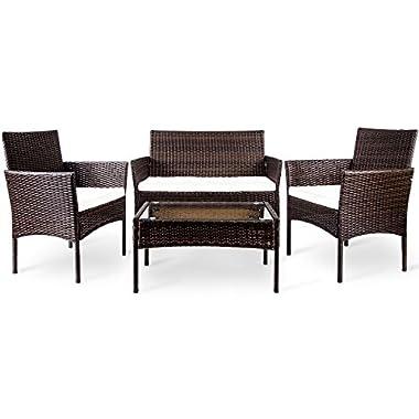 Merax 4 PC Outdoor Garden Rattan Patio Furniture Set Cushioned Seat Wicker Sofa (Brown)