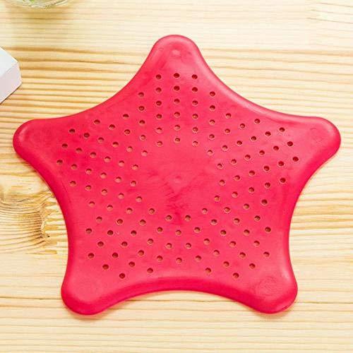 LCK Multifunction Five-Pointed Star PVC Filter Kitchen Bath Sewer Sink Waste Strainer Filter Drain,Red