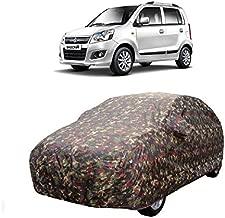 MotRoX Car Body Cover for Maruti Suzuki WagonR with Side Mirror Pocket (Military Color)