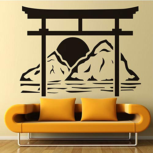 Japanese Torii Wall Decals Sun Rise Removable Vinyl Adhesive Wall Sticker Bedroom Home Decoration Accessories 78x58cm