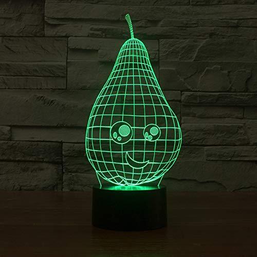 YDBDB Nachtlicht Schöne Birnenförmige 7 Farbwechsel 3D Led Tisch Schreibtischlampe Cartoon Figur Kinder Nacht Schlaf Beleuchtung Dekor Geschenk