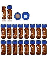 Vial de autosampler de 2 ml, ámbar 9-425, con área de escritura y graduaciones, tapa azul de 9 mm con PTFE preranura y septa de silicona [100 piezas/paquete]