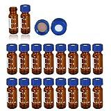 Autosampler Vial, 2mL 9-425 ámbar, con área de escritura y graduaciones, tapa azul de 9 mm con PTFE precortada y Septa de silicona [100 unidades/paquete]