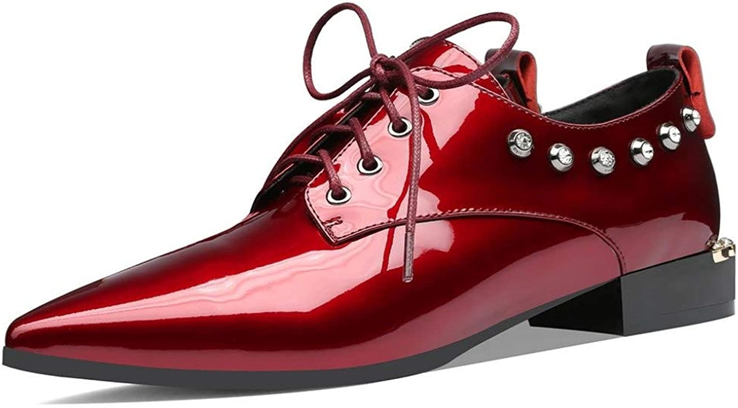 Fay Waters Rivet Patent Leather Oxfords for Women Lace Up Low Heel Pointed Toe Flat shoes