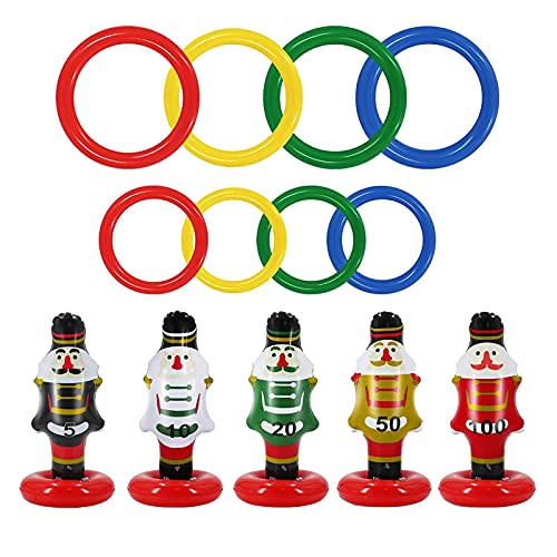 NMSL Inflatable Ring Toss Toy, 15pcs Ring Toss Game Durable Summer Floats Toys Games Set Water Game For Family Christmas Party Supply Team Water Games With Manual Air Pump