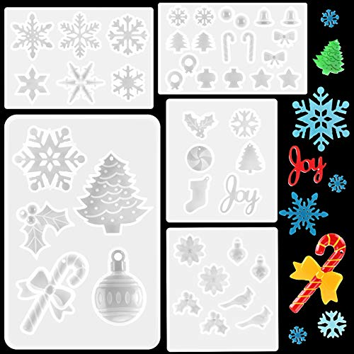 5 Pieces Christmas Resin Mold Christmas Mold Snowflake Mold Resin Christmas Molds Christmas Silicone Mold for Resin for Home Ornament Decor