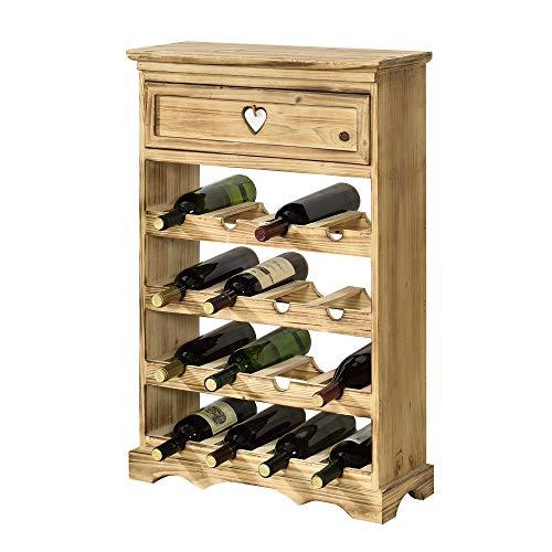 [en.casa] Mobile Portabottiglie con Cassetto 86 x 55 x 22 cm Cantinetta in Legno di Pino per 16 Bottiglie Bancone Portabottiglie da Vino con 4 Ripiani