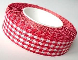 SCHLEIFENBAND 25m x 25mm Vichy KAROBAND rot – weiß DEKOBAND Geschenkband VICHYKARO kariert ohne Draht