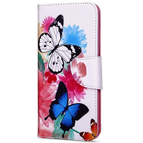 EUWLY Kompatibel mit Huawei Y7 2018 Handyhülle Männer Bookstyle LederHülle Ledertasche Klappbar Handy Tasche Leder Flipcase Mit Magnetverschluß,Blumen Schmetterling