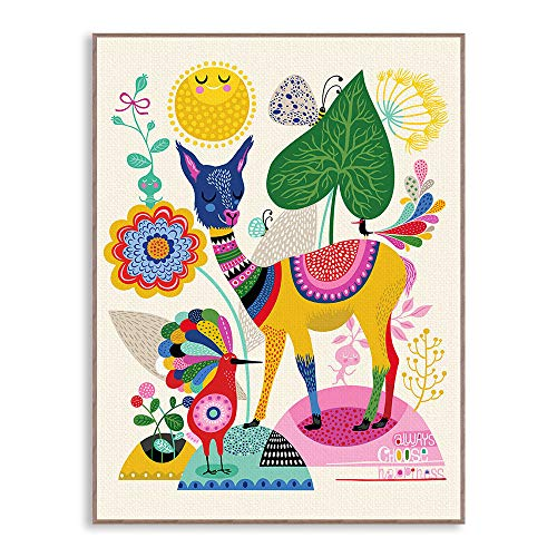 WSNDGWS Klein fris en prikkelend dierenpaka- paard en schapen-kinderkamerdecoratie verf zonder fotolijst 40x50cm A3