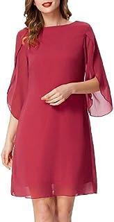GRACE KARIN Vestido Elegante Mujer Vestido Gasa Manga Corta Casual Gasa Top Cuello Redondo