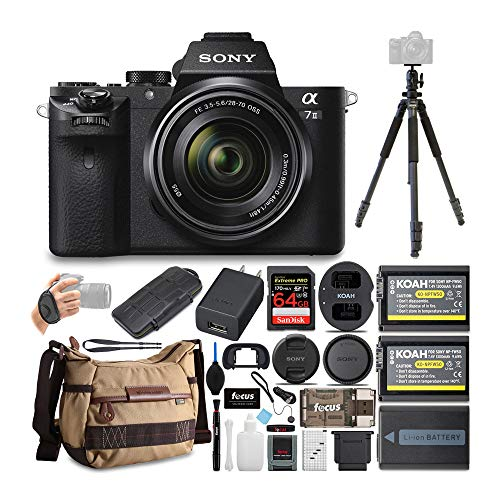 Sony Alpha a7II Mirrorless Digital Camera with 28-70mm Lens, Tripod and Ball Head, Bag, 64GB SD Card, Battery and Dual Charger, Accessories, Case, Dust Blower and Lens Cap Keeper Bundle (9 Items)